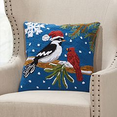 Mina Victory Home for the Holidays Christmas Birds Throw Pillow