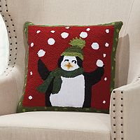Mina Victory Home for the Holidays Juggling Penguin Throw Pillow