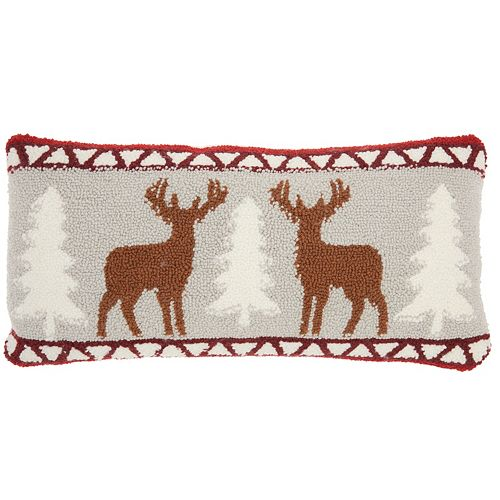 Mina Victory Home for the Holidays Deer Oblong Throw Pillow