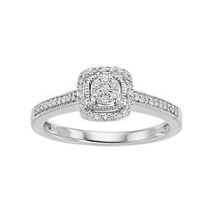 Hallmark Love Found Us Sterling Silver 1/6 Carat T.W. Diamond Cluster Square Halo Ring