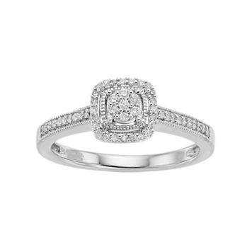 Hallmark Sterling Silver 1/6 Carat T.W. Diamond Cluster Square Halo Ring
