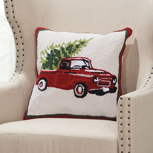 Mina Victory Home for the Holidays Christmas Tree in Pickup Throw Pillow
