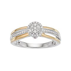 Hallmark Two Tone Sterling Silver 1/6 Carat T.W. Diamond Cluster Halo Ring
