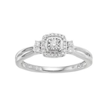Hallmark Love Found Us Sterling Silver 1/6 Carat T.W. Diamond Square Halo Ring