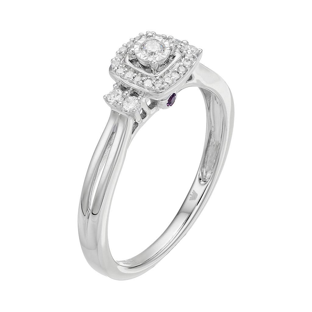 Hallmark Sterling Silver 1/6 Carat T.W. Diamond Square Halo Ring