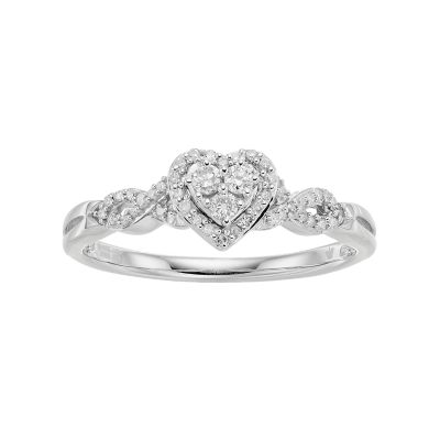 Hallmark Love Found Us Sterling Silver 1/5 Carat T.W. Diamond Heart Halo Ring