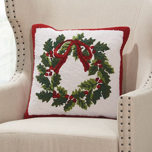 Mina Victory Home for the Holidays Christmas Wreath Throw Pillow