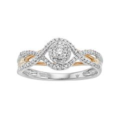 Hallmark Two Tone Sterling Silver 1/5 Carat T.W. Diamond Halo Ring