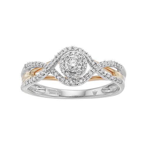 Hallmark Love Found Us Two Tone Sterling Silver 1/5 Carat T.W. Diamond Halo Ring