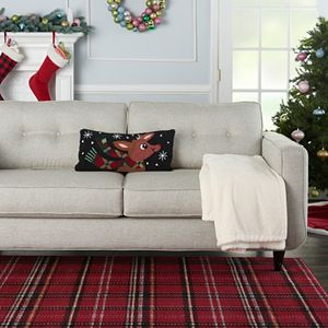 Mina Victory Home for the Holidays Reindeer with Scarf Oblong Throw Pillow