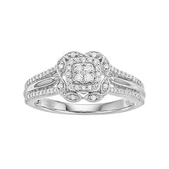 Hallmark Love Found Us Sterling Silver 1/4 Carat T.W. Diamond Square Halo Marquise Ring
