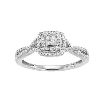 Hallmark Sterling Silver 1/4 Carat T.W. Diamond Square Halo Ring