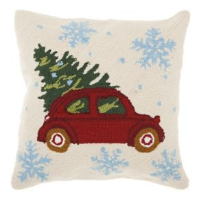 Mina Victory Home for the Holidays Christmas Tree in Car II Throw Pillow