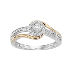 Hallmark Two Tone Sterling Silver 1/5 Carat T.W. Diamond Halo Bypass Ring