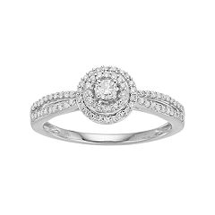 Hallmark Sterling Silver 1/3 Carat T.W. Diamond Halo Ring