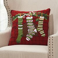 Mina Victory Home for the Holidays Christmas Stockings Throw Pillow