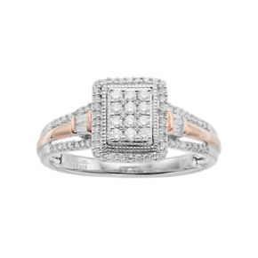 Hallmark Love Found Us Two Tone Sterling Silver 1/3 Carat T.W. Diamond Rectangle Halo Ring