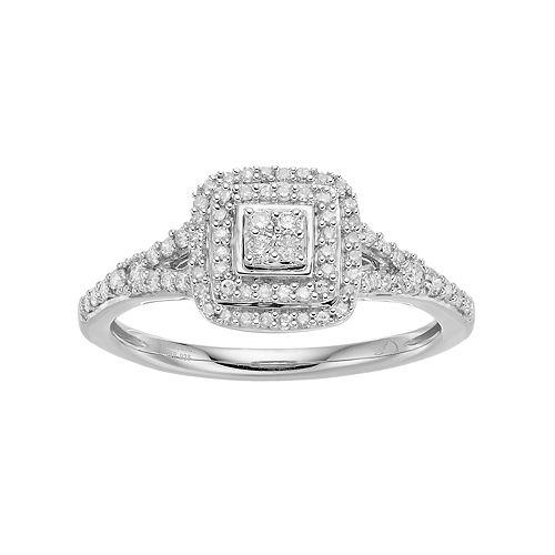 Hallmark Love Found Us Sterling Silver 1/3 Carat T.W. Diamond Cluster Square Halo Ring