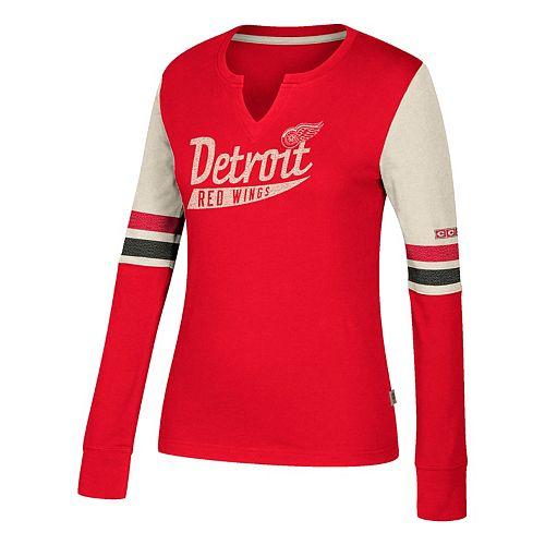 Women's CCM Detroit Red Wings Notch-Neck Tee