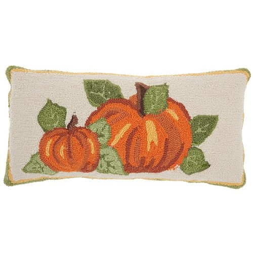 Mina Victory Home for the Holidays Pumpkin Patch Oblong Throw Pillow
