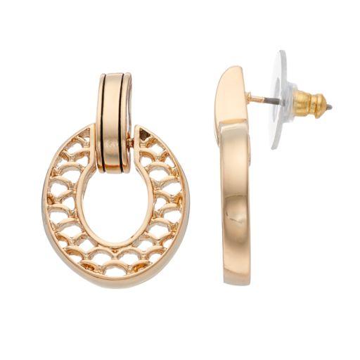 Napier Scalloped Oval Door Knocker Earrings