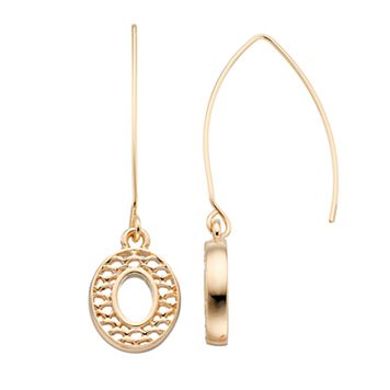 Napier Scalloped Oval Threader Earrings