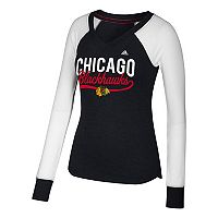Women's adidas Chicago Blackhawks Constructed Raglan Tee