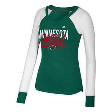 Women's adidas Minnesota Wild Constructed Raglan Tee