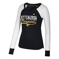 Women's adidas Pittsburgh Penguins Constructed Raglan Tee