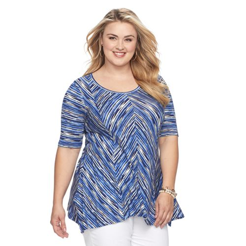 Plus Size Dana Buchman Mini Sharkbite Hem Print Top