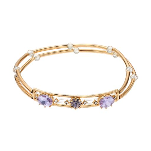 LC Lauren Conrad Beaded Purple Stone Double Strand Stretch Bracelet