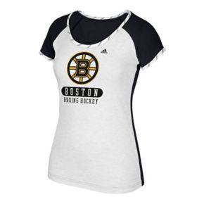 Women's adidas Boston Bruins Constructed Raglan Tee