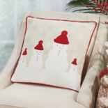 Mina Victory Home for the Holidays Four Snowmen Throw Pillow