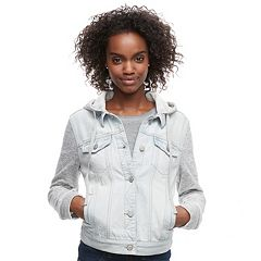 Juniors' Mudd® Knit Sleeve Hood Jean Jacket