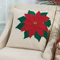 Mina Victory Home for the Holidays Pointsettia Throw Pillow