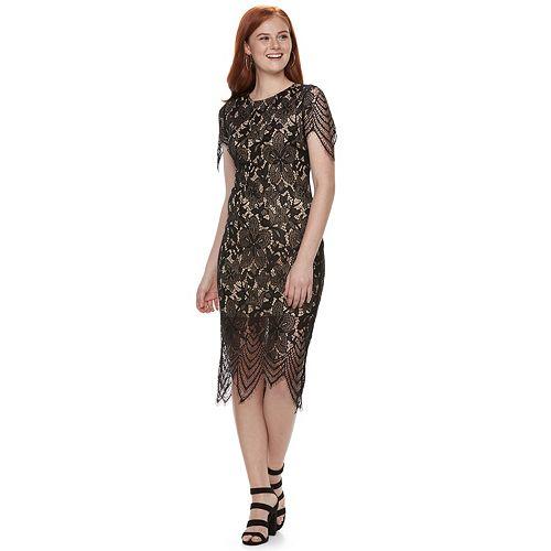 Juniors' Love, Fire Scallop Trim Lace Midi Dress