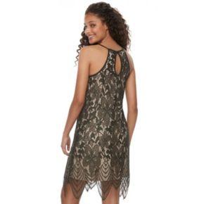 Juniors' Love, Fire Floral Lace Halter Shift Dress