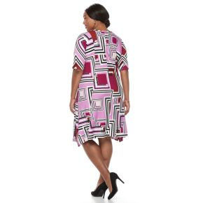 Plus Size Dana Buchman Geometric Sharkbite Dress