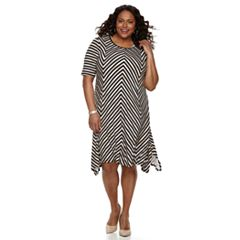 Plus Size Dana Buchman Geometric Sharkbite Dress