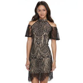 Juniors' Love, Fire Cold Shoulder Lace Dress