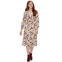 Juniors' Love, Fire Print Choker Neck Faux-Wrap Dress