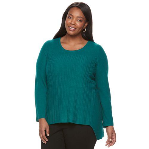 Plus Size Dana Buchman Sharkbite Hem Knit Sweater
