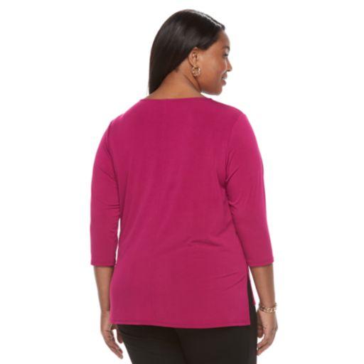 Plus Size Dana Buchman Studded Bib Top
