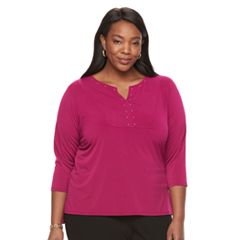 Plus Size Dana Buchman Studded Bib Top