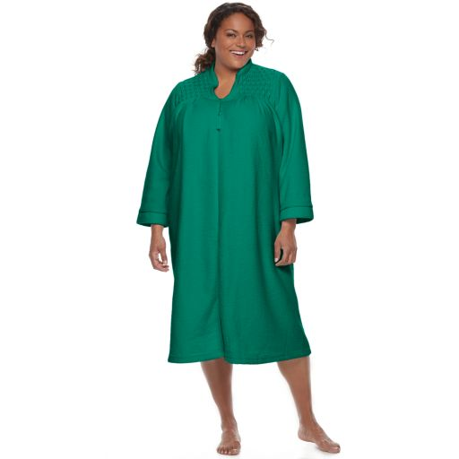 Plus Size Miss Elaine Essentials Brushed Back Terry Duster Robe