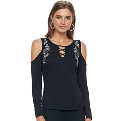 Women's Rock & Republic® Embroidered Cold-Shoulder Top