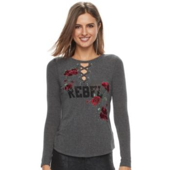 "Women's Rock & Republic® ""Rebel"" Lace-Up Graphic Tee"