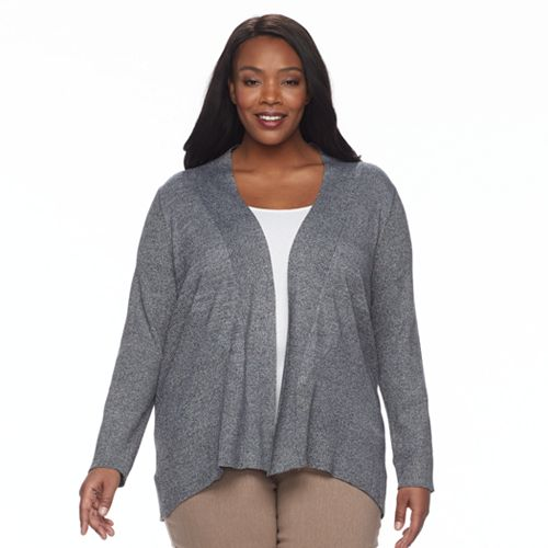 Plus Size Dana Buchman Ribbed Transitional Open-Front Cardigan