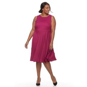Plus Size Dana Buchman Sleeveless Paneled Circle Cut Dress