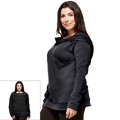 Plus Size Hottotties by Terramar Madison Reversible Long Sleeve Hoodie